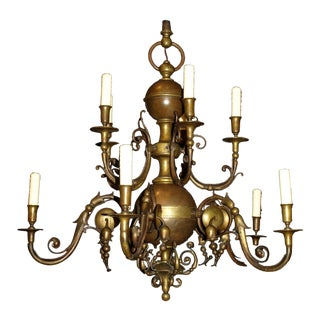 Antique Chandelier. Dutch Bronze Chandelier