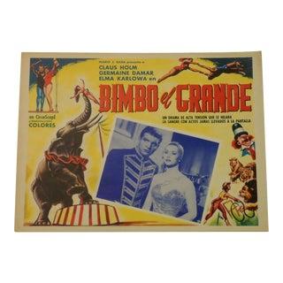 Vintage Spanish Circus Movie Poster Bimbo Elephant