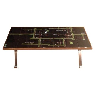 Adri Vintage 1960s Chrome & Tile Top Coffee Table