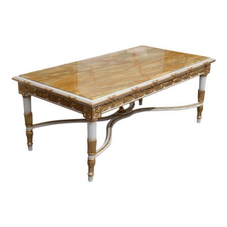 Italian Neoclassic Style Marble Top, Painted and Parcel-Gilt Low Table