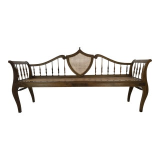 Italian Walnut Caned Settee