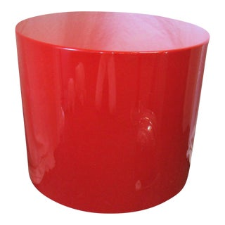 Red Lacquer Round Accent Side Table