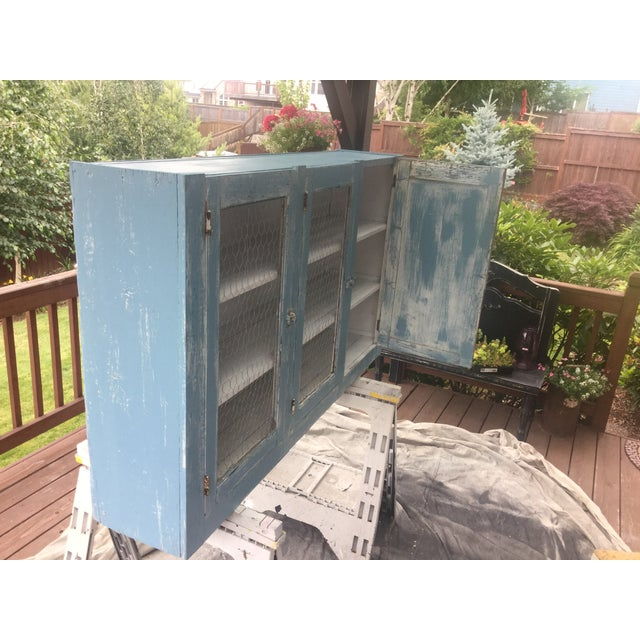 Antique Blue Wash Barn Cabinet - Image 5 of 5