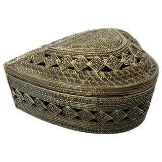 Decorative Brass Heart-Shaped Box
