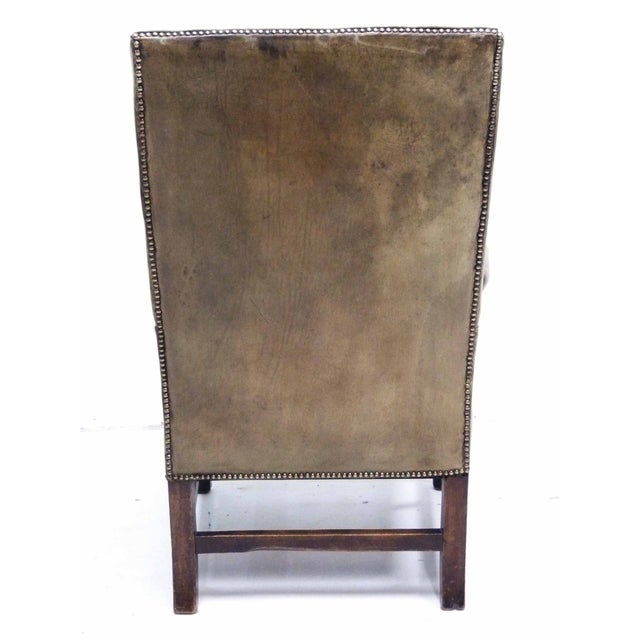 Distressed Leather 19th C. Wingback Chair - Image 6 of 10