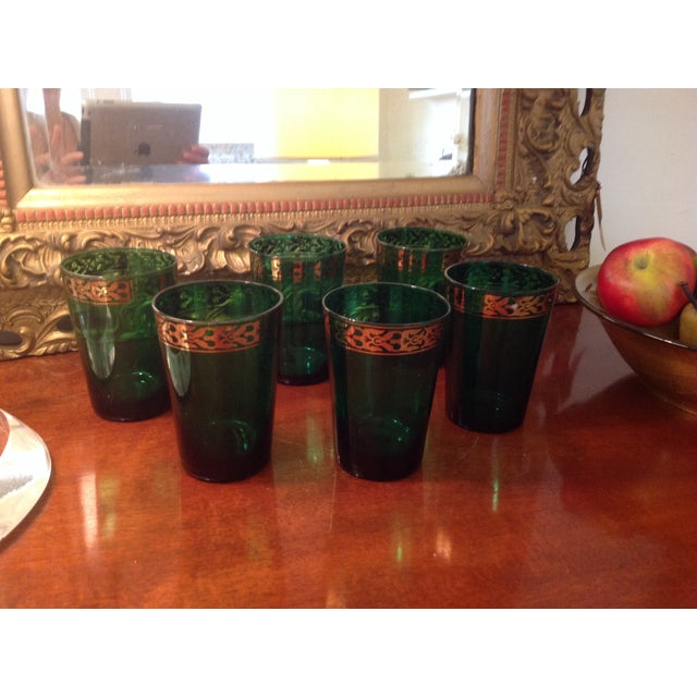 Vintage Green Glasses - Set of 6 - Image 2 of 4