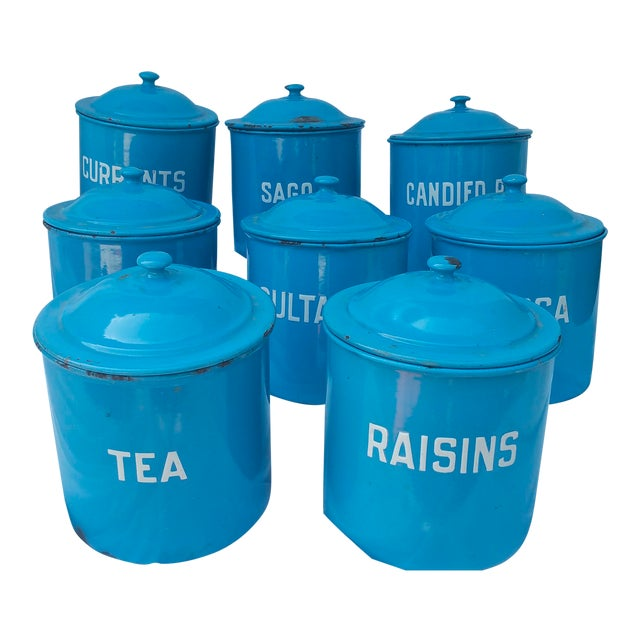 Image of Vintage Blue Enamel Kitchen Canisters- Set of 8