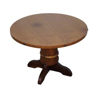 Vintage Oak Round Barrel Base Coffee Table