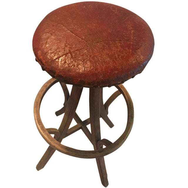 Vintage Industrial Leather Swivel Stool - Image 1 of 6
