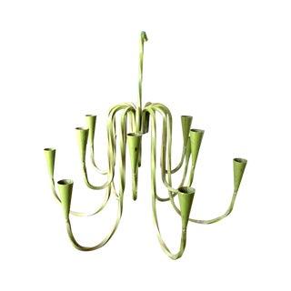 1950s Green Hanging Candelabra Chandelier