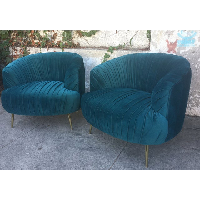 Glam Teal Velvet Club Chairs A Pair Chairish