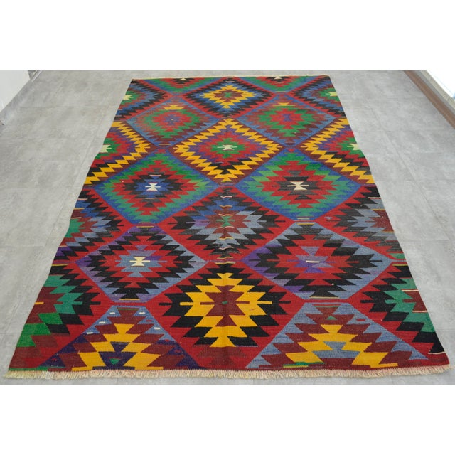 Turkish Kilim Rug Hand-Woven Diamond Rug