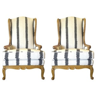 Hand-Dyed Mudcloth Wingback Chairs - A Pair