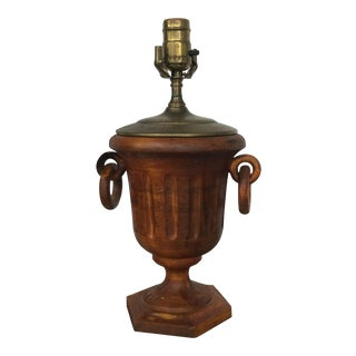 Vintage Carved Wood Urn Lamp