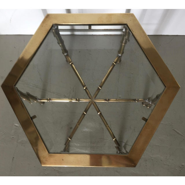 Mastercraft Brass Faux Bamboo Hexagonal Accent Table - Image 4 of 5