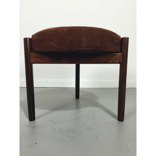 Danish Suede and Rosewood Stool - Image 4 of 6