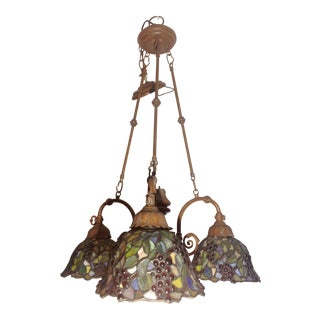 Vintage Stain Glass 3 Light Chandelier