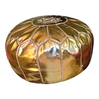 """Large 67"""" Authentic Gold Moroccan Leather Pouf Ottoman Footstool"""