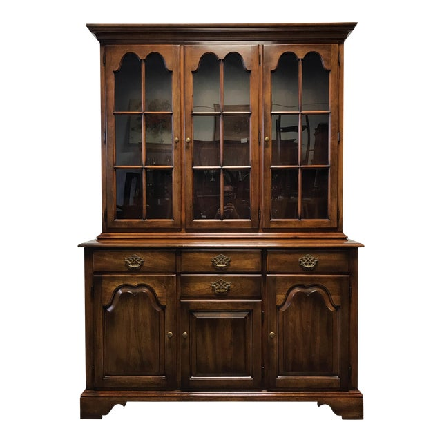 Statton Oxford Antique Cherry China Cabinet Hutch - Statton Oxford Antique Cherry China Cabinet Hutch Chairish