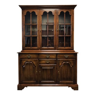 Antique Statton Oxford Cherry China Cabinet Hutch