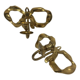 Brass Vintage Bow Candle Wall Sconces- a Pair
