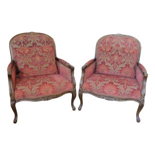 Velvet Jacquard Bergere Chairs - A Pair