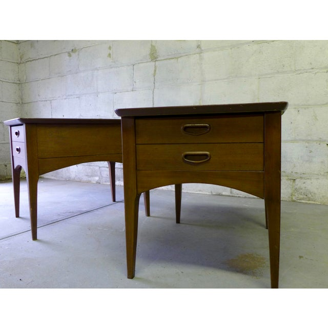 Mid Century Modern Walnut Nightstands - A Pair - Image 4 of 6