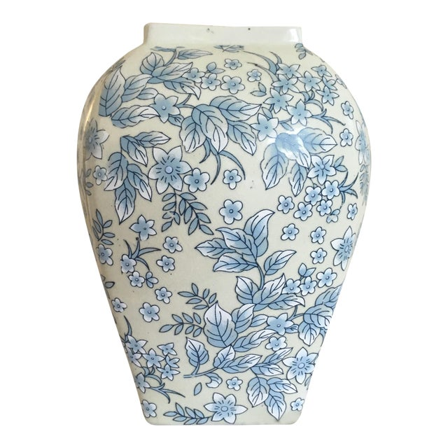 Tall Vintage White & Blue Floral Oriental Vase - Image 1 of 8