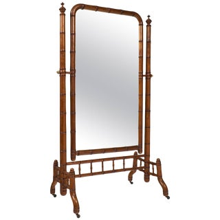 "Napoleon III Faux Bamboo ""Psyche"" Mirror"