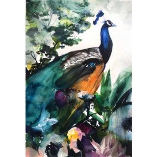 """""""Peacock Garden"""" Framed Original Watercolor"""