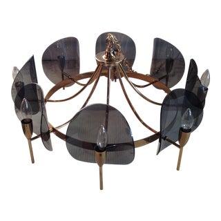 Mid-Century Brass & Lucite Chandelier