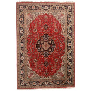 Hand-Knotted Wool Persian Tabriz - 5′5″ × 9′6″