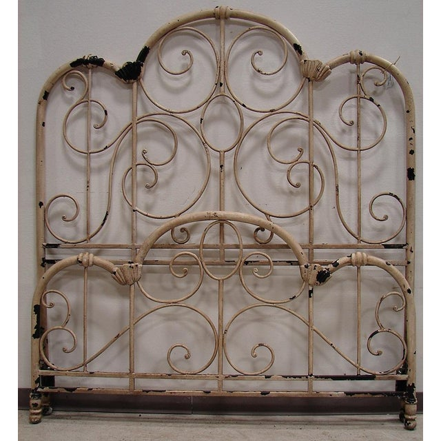 Distressed Wrought Iron Queen Bed - Image 3 of 3