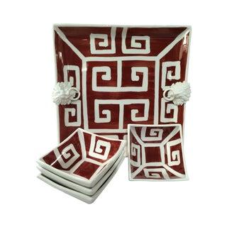 Mane Lion Greek Key Ceramic Platter & Four Bowls