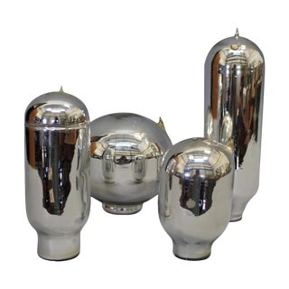 Vintage Mercury Glass Thermos Liners - Set of 4