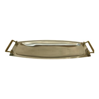Large Mid-Century Chrome & Brass Serving Tray