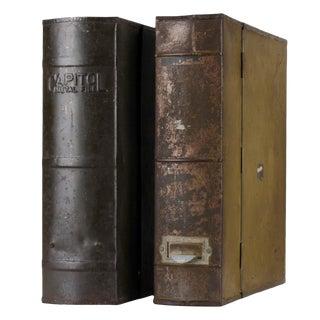 Vintage Metal File Boxes - A Pair