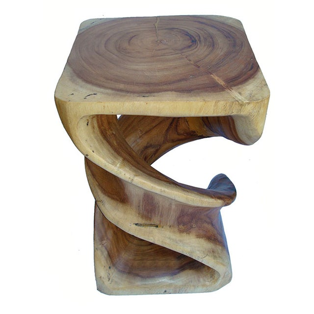 Hand Carved Solid Teak Stool/Side Table - Image 4 of 5