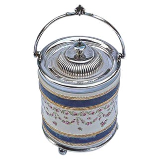 Antique English Ceramic & Silver Biscuit Jar