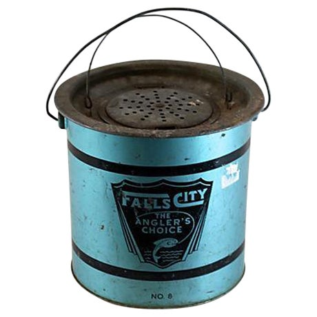 Falls city vintage fishing minnow pail ice bucket chairish for Ice fishing bucket