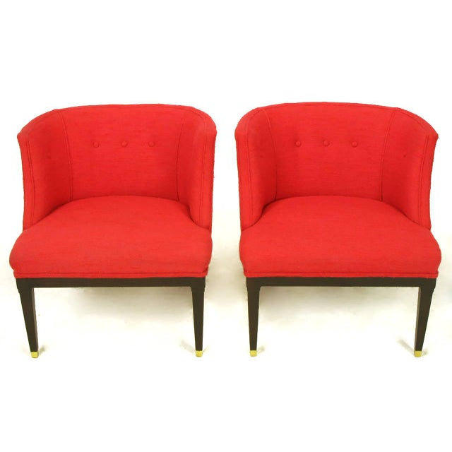 Pair of Button Tufted Red Wool and Dark Walnut Pull Up Wing Chairs - Image 2 of 10