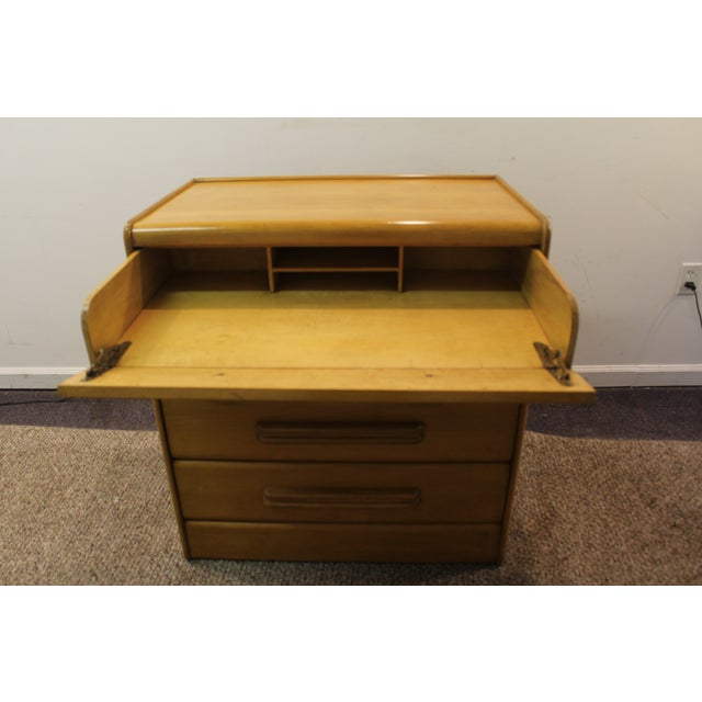 Image of Mid Century Modern Drop-Front Wheat Chest/Dresser