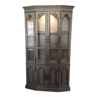 Vintage Gold & Gray China Cabinet