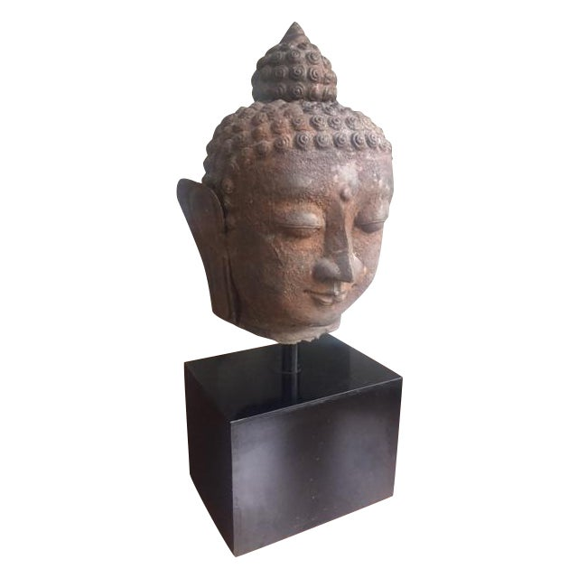 Image of Antique Buddha Head on Stand