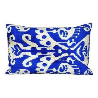 Royal Blue and Cream Silk Velvet Ikat Accent Pillow