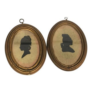 18th Century Brass Framed Silhouette - A Pair