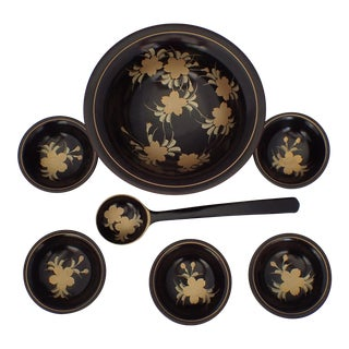 Asian Laquered Condiment Bowls - Set of 7