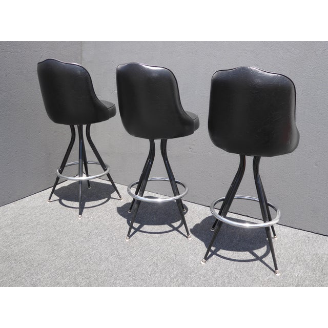 Vintage Mid-Century Modern Black Vinyl & Chrome Swivel Bar Stools - Set of 3 - Image 5 of 10