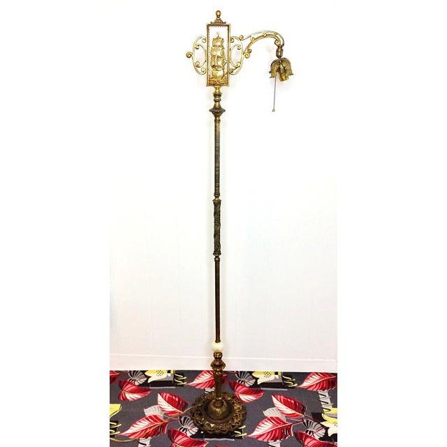 Antique Nautical Ship Brass Marble Bridge Floor Lamp