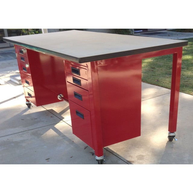Image of Red Powder Coated Steel Work Station